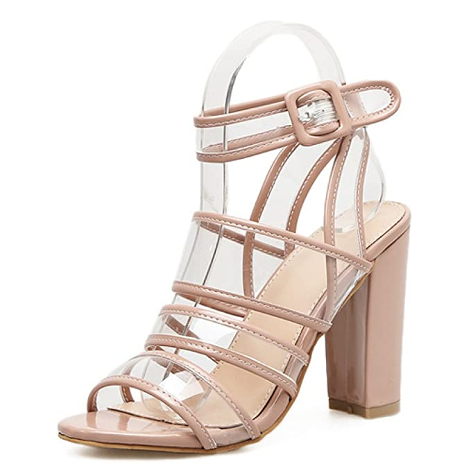 Amazon.com: Womens High Heels Sandals Pumps Ankle Strap Block Heel Ladies Open Toe Party Evening Shoes Size: Clothing