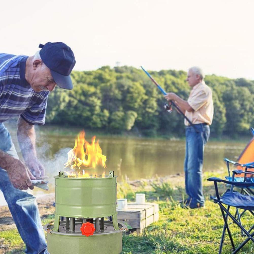 Angeln und Kochen im Freien winddichter Brenner AUTOECHO Outdoor-Campingkocher tragbarer 8-Dochte-Kerosinbrenner-Campingkocher zum Wandern Camping