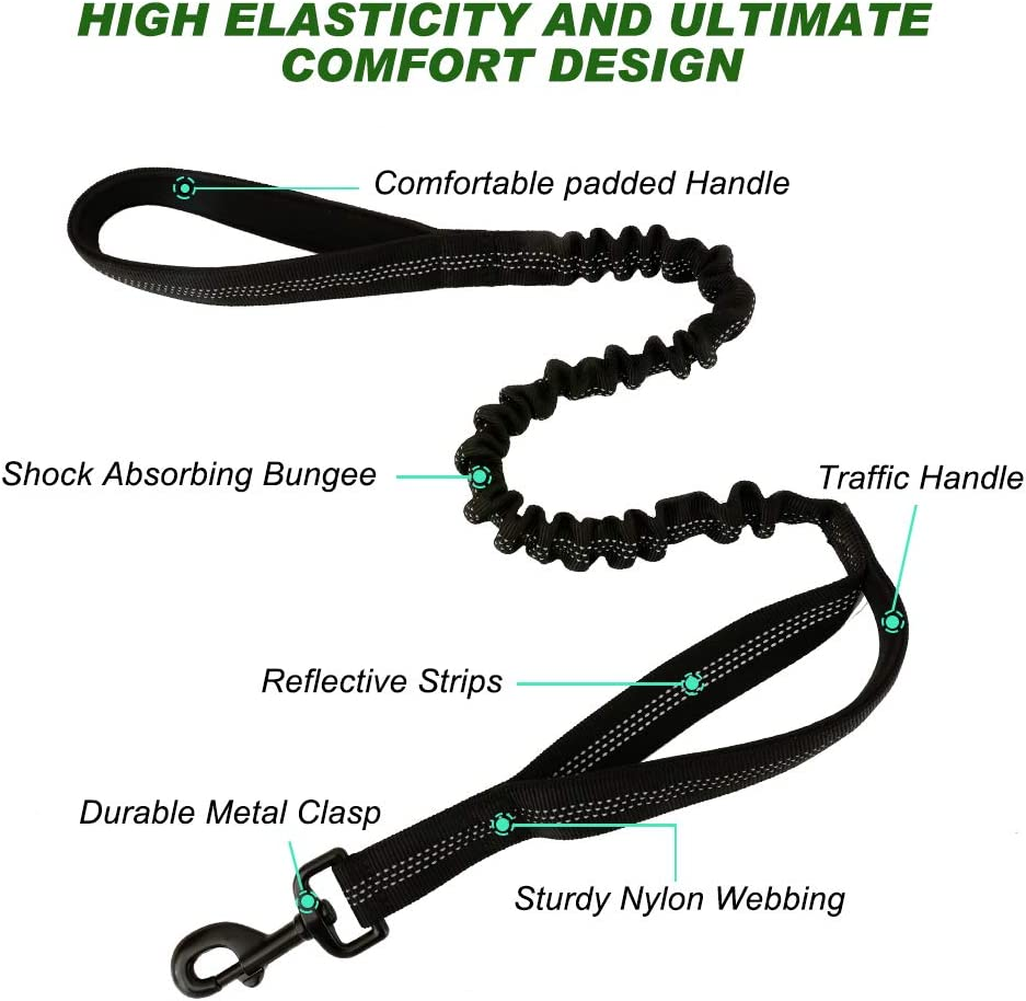 Elastic Leads Rope with 2 Padded Traffic Control Handles for Military Dog Training and Night Walking rabbitgoo Tactical Bungee Dog Leash Safety /& Comfort Quick Lock /& Release