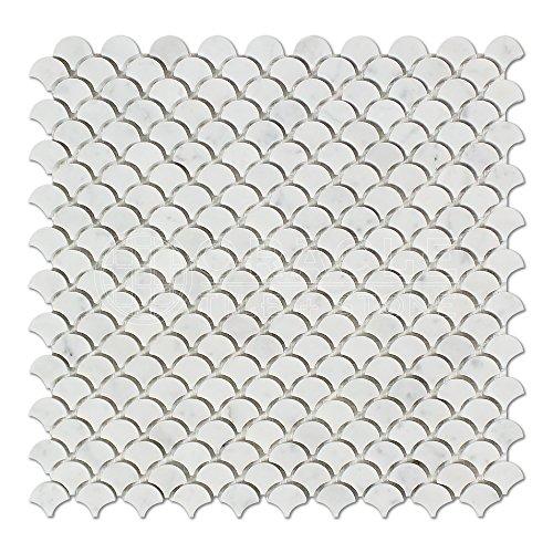 Carrara White Italian (Bianco Carrara) Marble Fan (Raindrop) Mosaic Tile, Polished (White Bianca Drop)