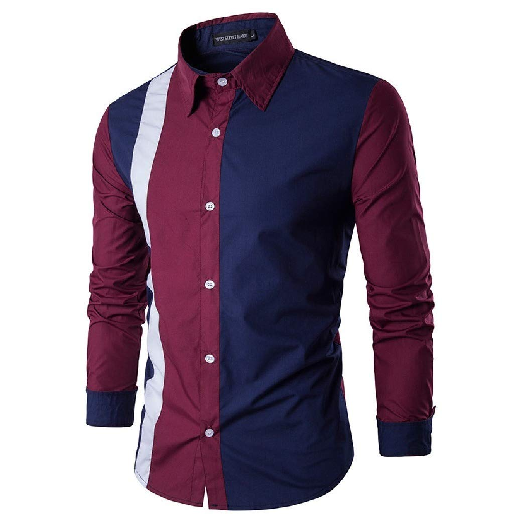 Sebaby Men Long-Sleeve Comfy Relaxed Fit Patched Big /& Tall Casual Shirt