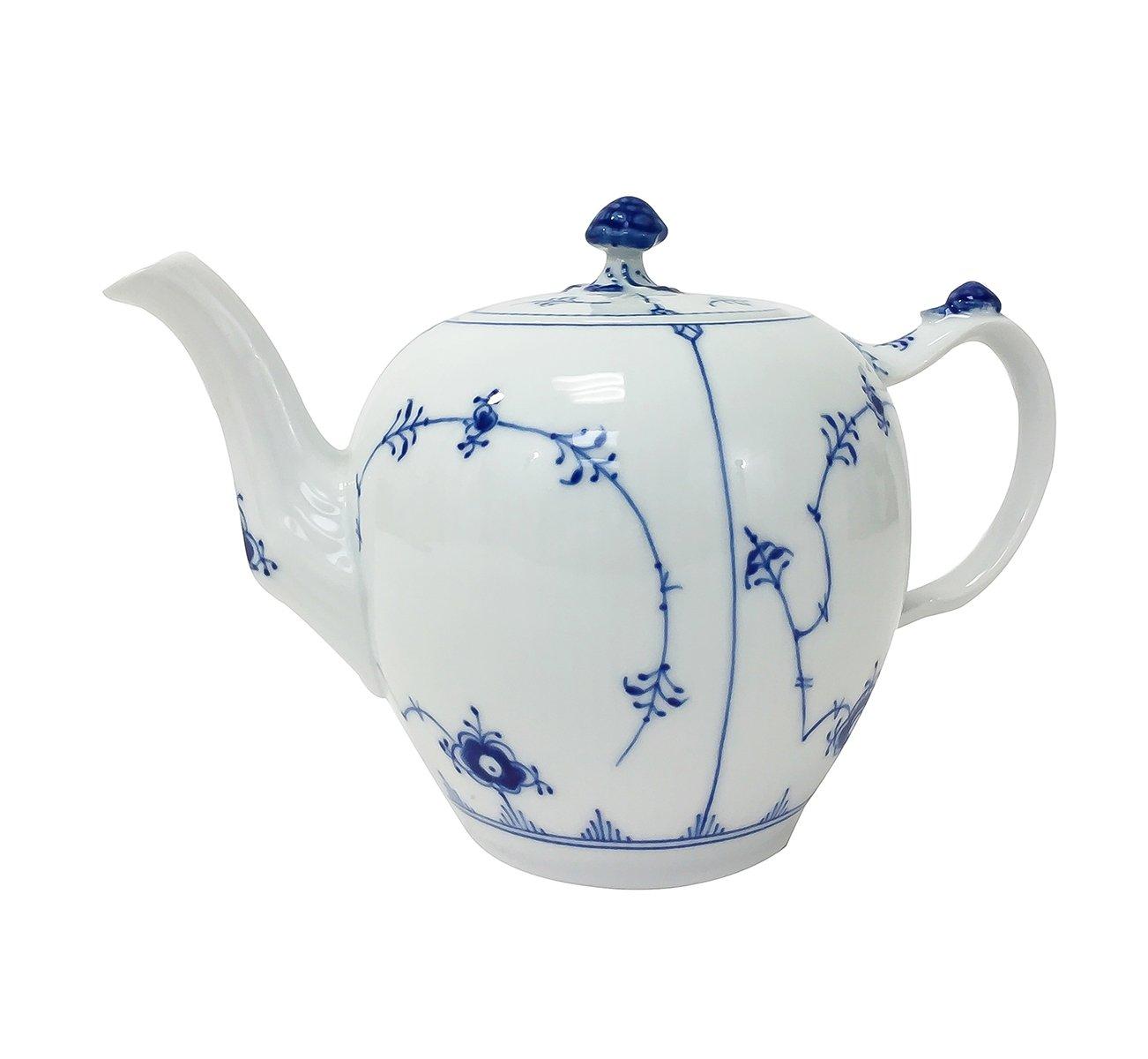 Royal Copenhagen Fluted Plain Tea Pot, Blue