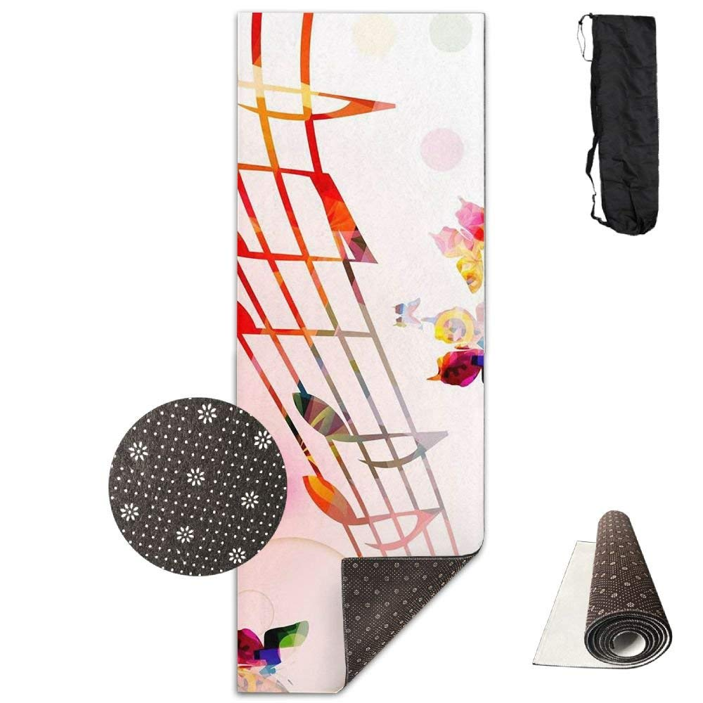 Colorful Music Notes With Butterflies Deluxe,Yoga Mat Aerobic Exercise Pilates Anti-slip Gymnastics Mats