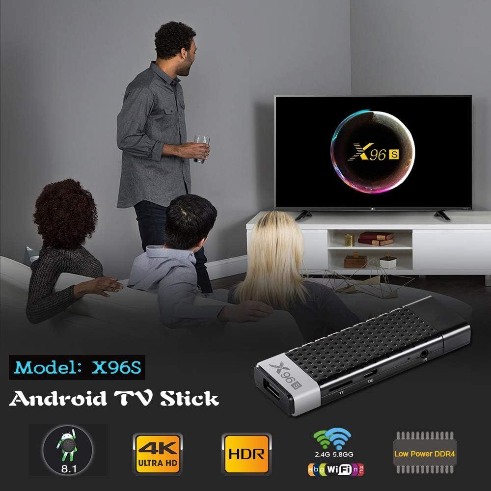 X96S TV BOX Mini Stick Android 8.1 Quad Core DDR4 4+32G WIFI 3D 4K Movies USB3.0