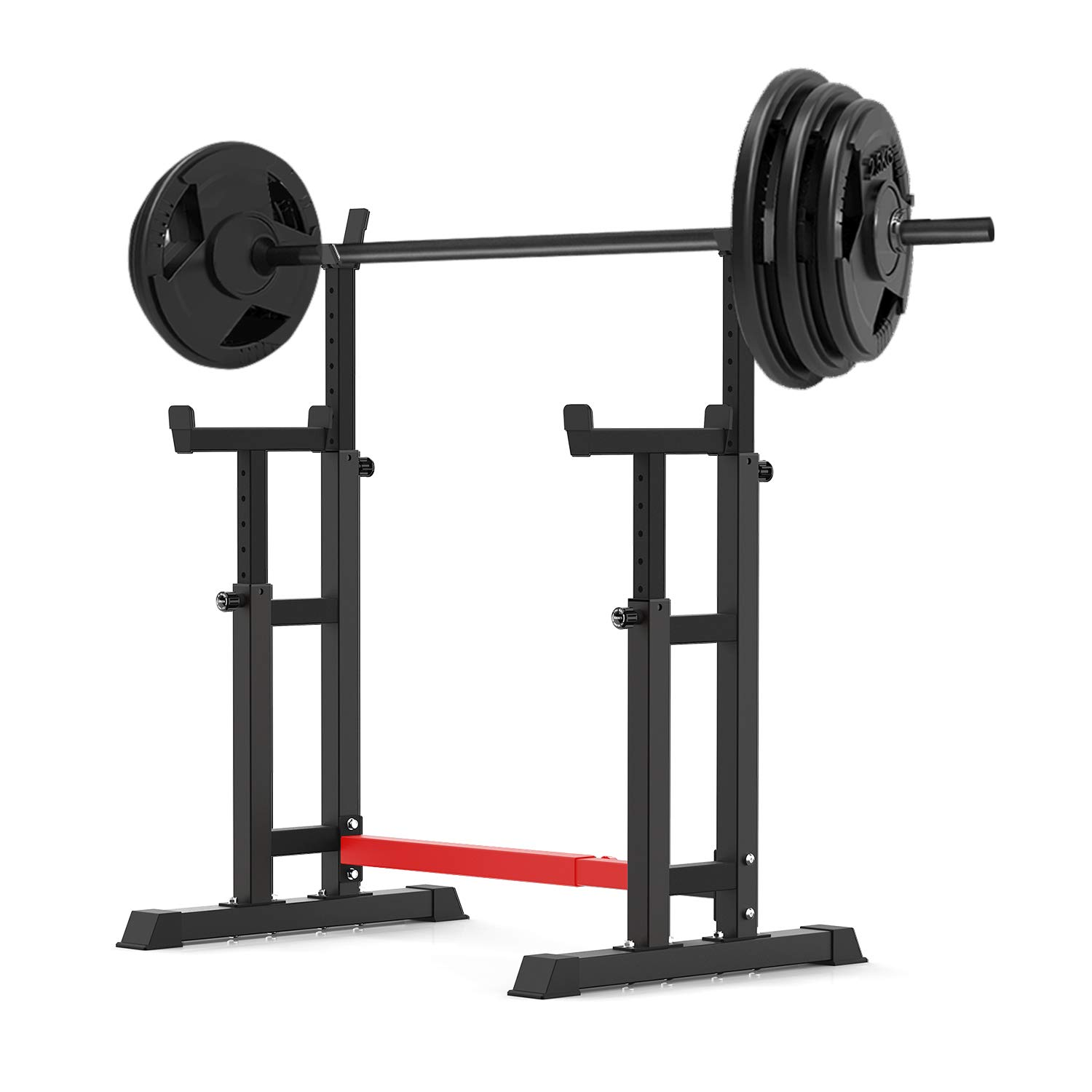 YouTen 800LBS Adjustable Sturdy Steel Barbell Squat Rack, Dumbbell Rack for Home Gym Exercise Fitness,Height Range 26.8'' to 55.9'' Red Black