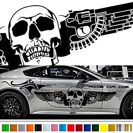 Skull gun tribal car sticker car vinyl side graphics wa42 car vinylgraphic car custom stickers decals
