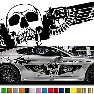 Amazon Com Skull Gun Tribal Car Sticker Car Vinyl Side