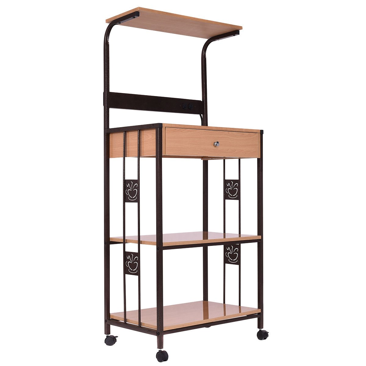 New 59'' Bakers Rack Microwave Stand Rolling Kitchen Storage Cart w/Electric Outlet