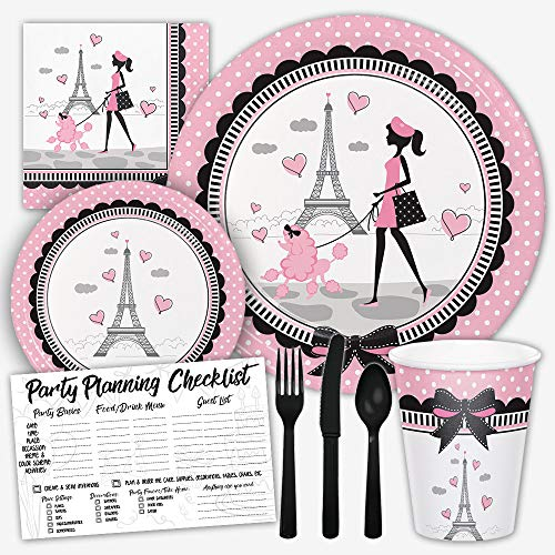 Party in Paris France Pink and Black Birthday Party Supplies Set for Girls - Serves 8 Guests Includes Dinner Plates, Dessert Plates, Napkins, Assorted Black Cutlery, Cups & Party Checklist