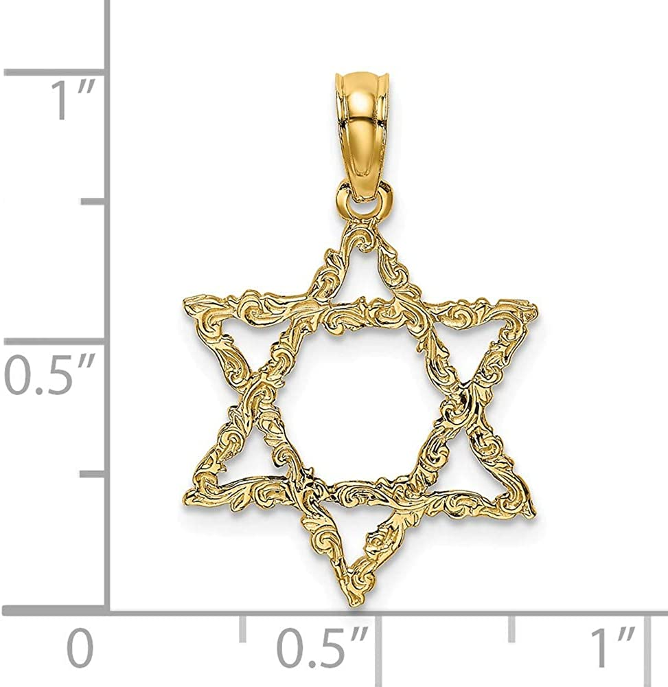 Jewish Pendant FB Jewels 14K Yellow Gold Star Of David with Scroll Design
