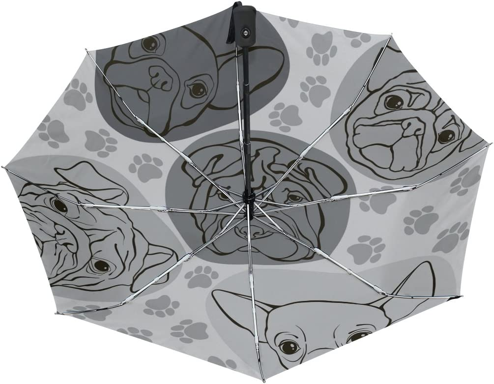 GIOVANIOR Faces Of Dogs Pug Bulldog Paws Footprints Umbrella Double Sided Canopy Auto Open Close Foldable Travel Rain Umbrellas