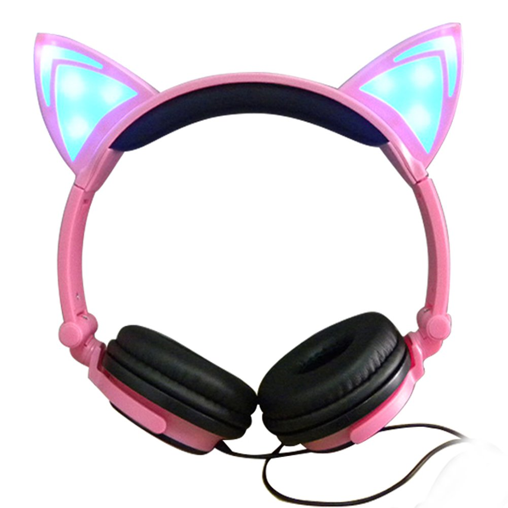 924968fd50 Amazon.com  Cat Ear Headphones with Glowing Lights (Pink)  Home Audio    Theater