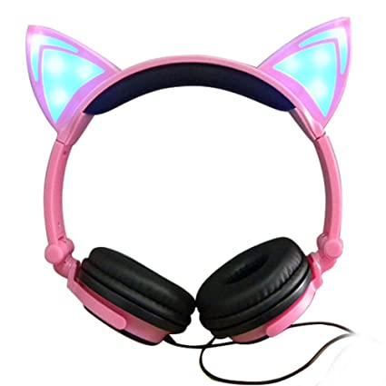 4acfc35ccd Amazon.com  Cat Ear Headphones with Glowing Lights (Pink)  Home ...