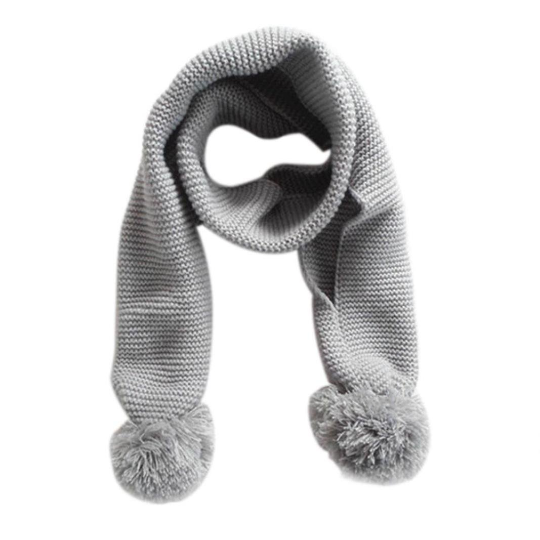 Baby Knitted Scarf Neck Warm, VENMO Solid Color Winter Scarf for Baby Boy Girl Kids (Blue)
