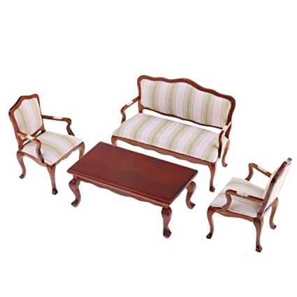 Brilliant Amazon Com Monkeyjack 1 12 Scale Striped Sofa Chair Table Andrewgaddart Wooden Chair Designs For Living Room Andrewgaddartcom