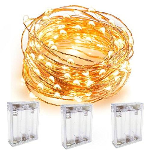 Pack Of 3 Sets Flexible Fairy Lights Battery Holder Case Operated Starry String Lights 9.8 Feet 30 LEDs Copper Wire Rope Light Patio Decoration Ultra Thin Mini (Rustic Country Candle Wrap)