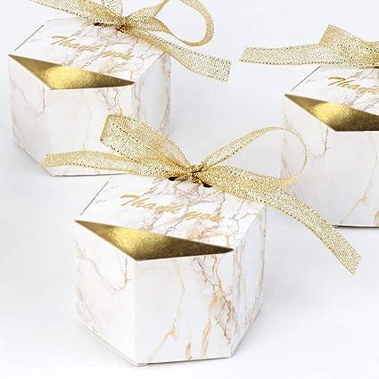 AerWo 20pcs Cajas de mármol del favor de la boda, Decoraciones de cajas de plata del
