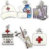 Breloques Charms Médical – Infirmière - Email et Argenté - lot de 6