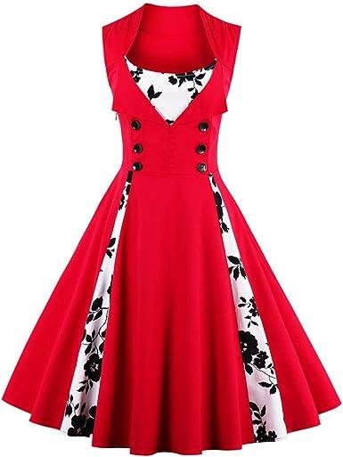 TALLA M. VERNASSA 50s Vestidos Vintage,Mujeres 1950s Vintage A-Line Rockabilly Clásico Verano Dress for Evening Party Cocktail, Multicolor, S-Plus Size 4XL 1357f-rojo