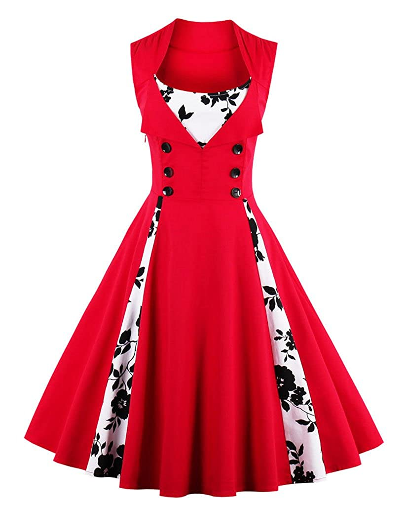TALLA S. VERNASSA 50s Vestidos Vintage,Mujeres 1950s Vintage A-Line Rockabilly Clásico Verano Dress for Evening Party Cocktail, Multicolor, S-Plus Size 4XL 1357f-rojo