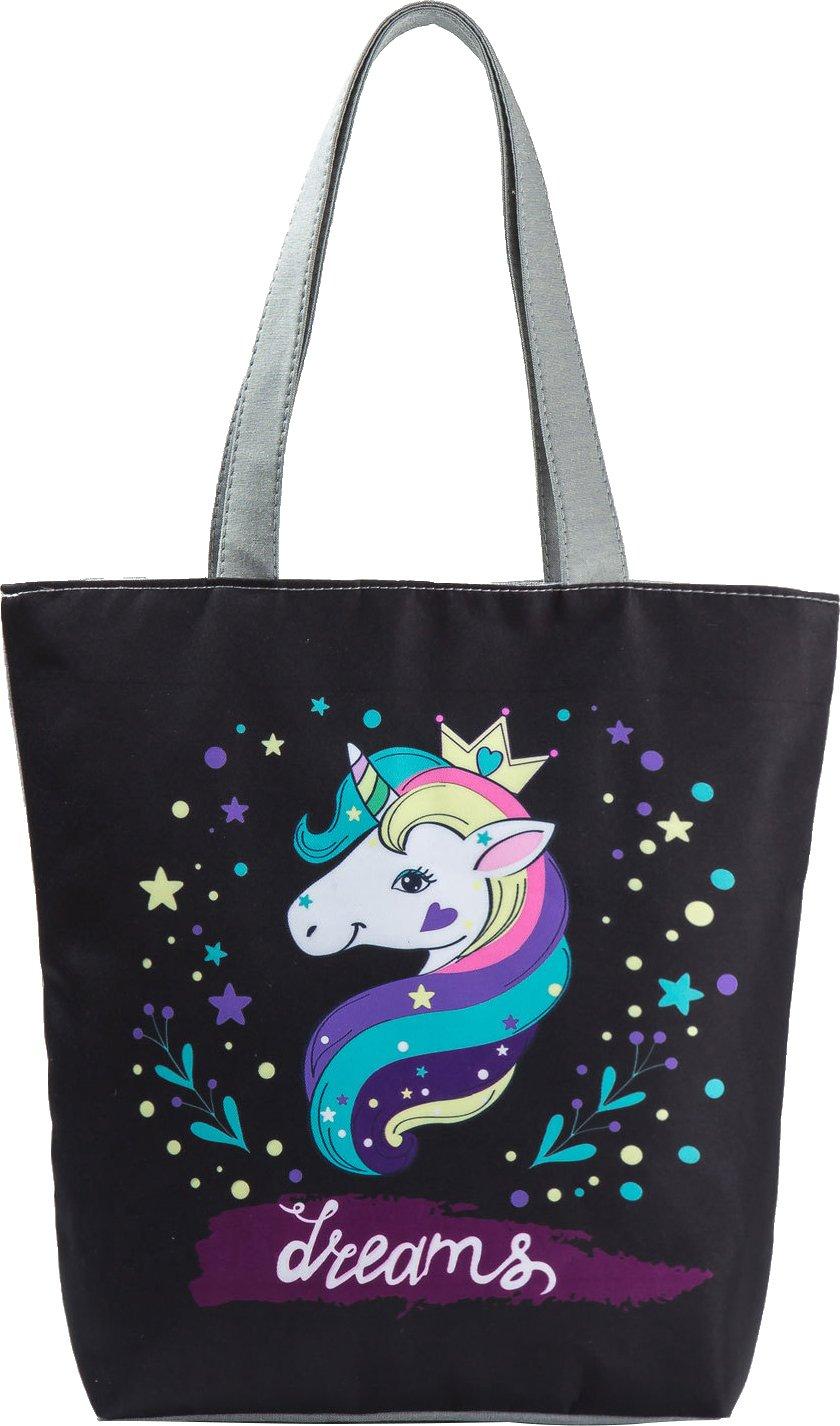 Ababalaya Creative Unicorn Pineapple Flamingo Print Zipper Canvas Tote Bag for Women Girls,Rainbow Unicorn