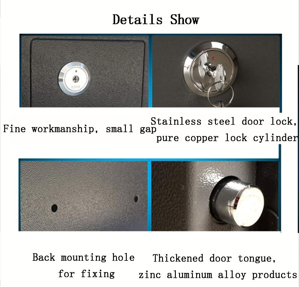 Solid Steel Security Safe Box Key Lock Great for Home Office Hotel Business UseJewelry Cash Valuables Storage ZCF Security Safes Mini Safes Color : Style3, Size : 230x170x170mm