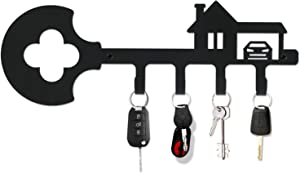 Pricuitie Decorative Wall Mounted Iron Key Holder, 11 inch with 4 Key Hooks for car or House Keys, Key Rack with Screws and Anchors (Black, Sweet Home)