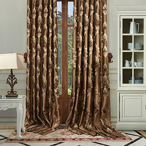 Cheap 42″W x 63″L (Set of 1 panel) 20 size available Custom Modern Country Rustic Floral Faux Silk Jacquard Grommet Top Energy Efficient Window Treatment Draperies & Curtains Panels