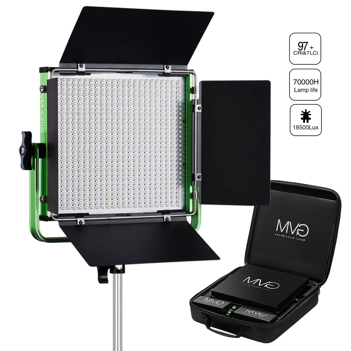 GVM Led Video Light with Memory Button and Wireless Remote Control, CRI97 / 3200-5600k / Photography Lighting for Studio, Indoor, Outdoor Video Tracking by GVM Great Video Maker