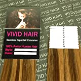 20 Pcs X 18″ inches Tape In Remy PU Seamless Skin weft Human Hair Extensions Color Chestnut Brown Mix Dark Blonde For Sale