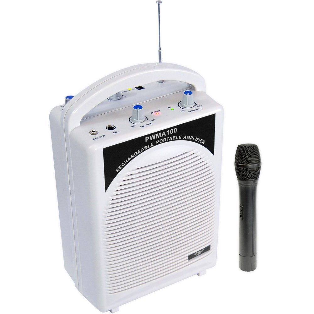 PylePro Latest Portable Mini PA Speaker System - Built in Rechargeable Battery Wireless Handheld Microphone and Aux Input Jack w/Audio Control Center for Karaoke and Crowd Control Amplifier PWMA100
