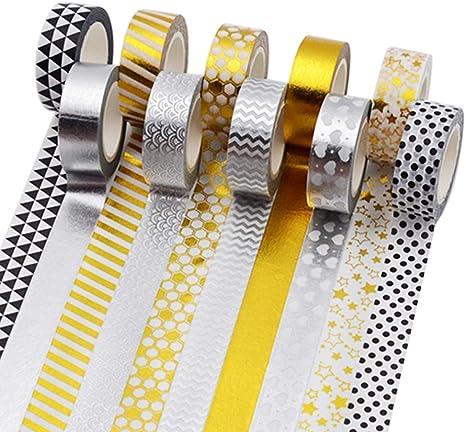 Washi Tape for crafts /& decoration metallic black gold stars 15mm x 10m roll