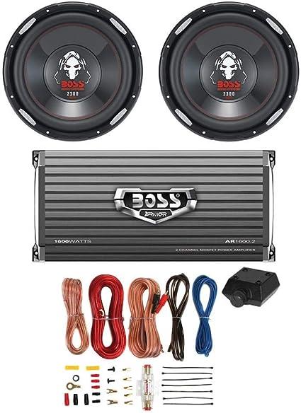 "2 Boss CXX10 10/"" 1600W RMS Car Audio Power Subwoofer Mono Amplifier+Amp Kit"