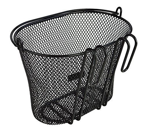 Basket with hooks BLACK, Front , Removable, wire mesh SMALL, kids Bicycle basket , BLACK by Biria