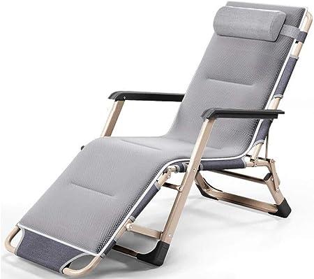 ADHW Reclinable, sillas reclinables Exterior, al Aire Libre Plegable Silla reclinable, Playa Tumbona, Jardín Tumbona Ligera, Tumbona (Color : Grey, Size : Pearl Cotton Pad): Amazon.es: Hogar