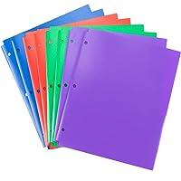 MAKHISTORY Plastic Folders with 3 Hole - 8Pack, 2 Pocket Folders for 3 Ring Binder Keeps Letter Size Paper