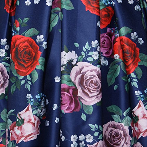 Verano De Flores Rojo Del Vintage Impreso Completo Plisadas Alta Cintura De Las Mujeres Faldas Midi Azul