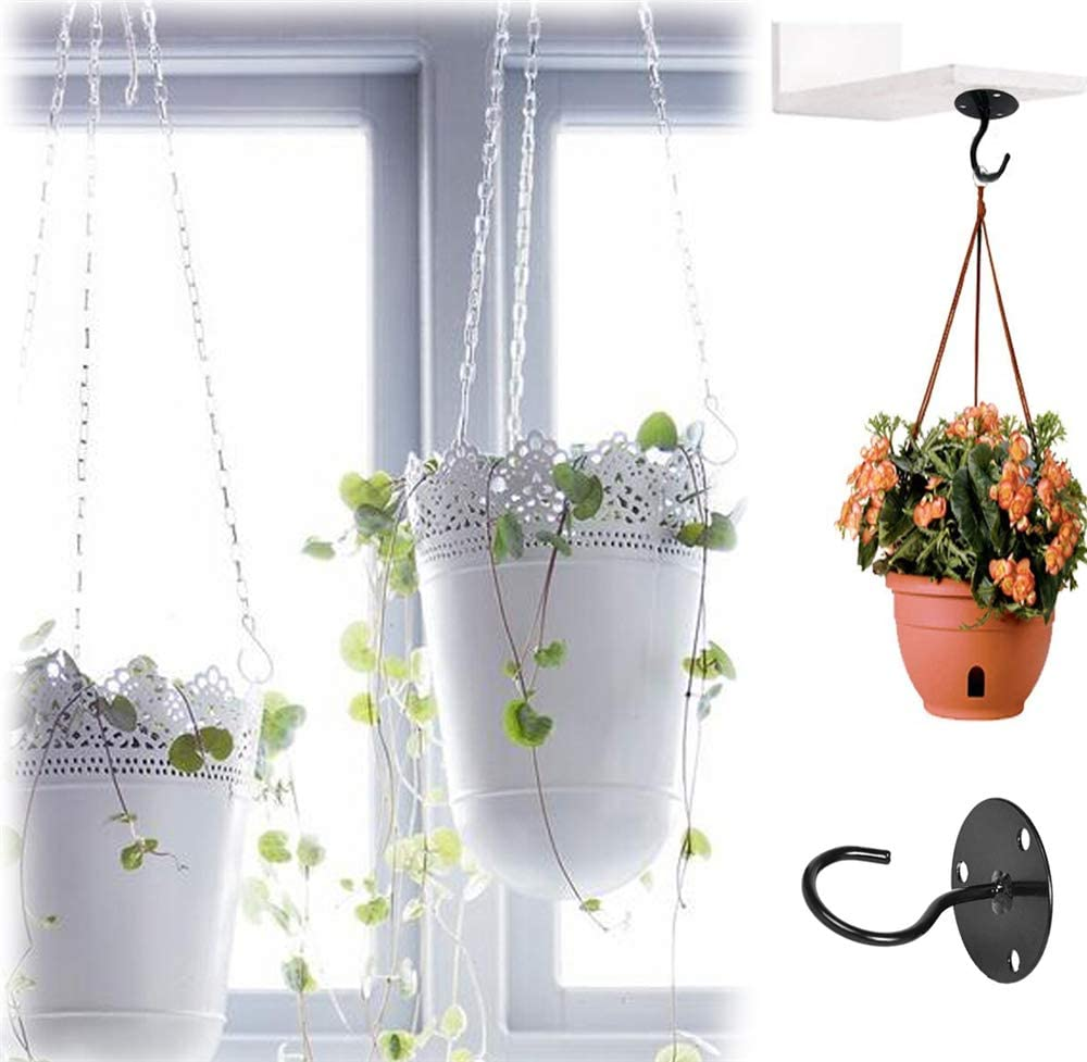 2Pcs Wall Mount Ceiling Hooks Plant Bracket Lanterns Hangers for Flower Pot Home