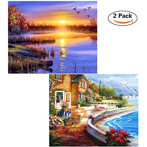 DIY Diamond Painting Kits for Adults, Diamond Painting Full Drill Dusk Lake Scenery, Perfect Gift for Families Friends, Cross Stitch DIY Craft - 12 x 16 inch