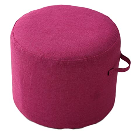 Sensational Idee Home Ottoman Pouf For Foot Stool Pouffe Meditation Solid Color Enough High For Leg Foot Rest Handle And Removable Design Rose Red 14X14X12 Bralicious Painted Fabric Chair Ideas Braliciousco