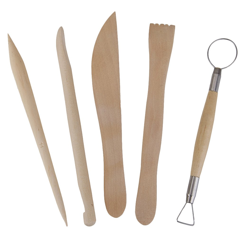 5Pcs Wooden Pottery Clay Sculpture Carving Tool Set TOOGOO(R) VBPAZKSFAZA1779