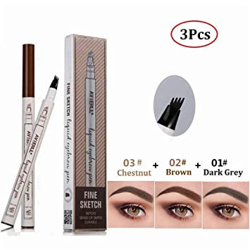 57a7a911ce60 Amazon.com : Tattoo Eyebrow Pen with Four Tips and Long-lasting Waterproof  Brow Gel and Tint Dye Cream for Eyes Makeup, Chestnut, Brown, Dark Gray  (3Pcs) : ...