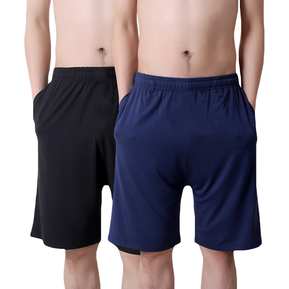 MAGE MALE Men's Summer Soft Sleep Shorts - 95% Modal Thin Pure Sleep Shorts & Lounge Wear with Pockets (Black/Navy, XXL)