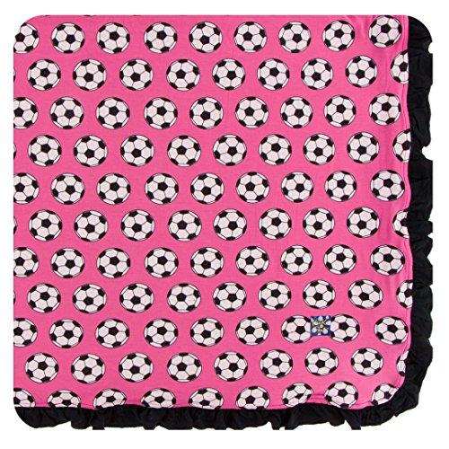 Kickee Pants Little Girls Print Ruffle Toddler Blanket - Flamingo Soccer, One Size by Kickee Pants