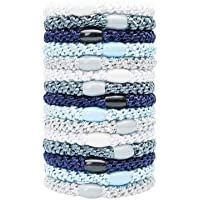 L. Erickson Grab & Go Ponytail Holders, Atlantic, Set of Fifteen - Exceptionally Secure with Gentle Hold