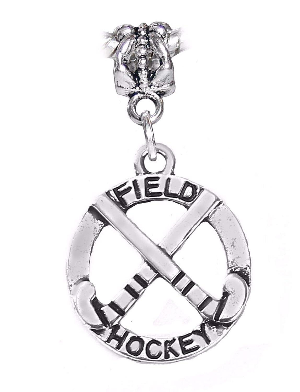 Field Hockey Sticks Sports Gift Dangle Charm fits Silver European Bead Bracelets Fashion Jewelry for Women Man