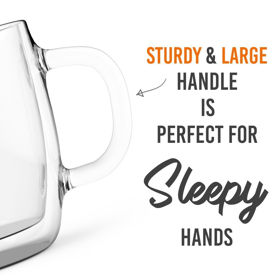 Large Coffee Mugs, Double Wall Glass Set of 2, 16 oz - Dishwasher & Microwave Safe - Clear, Unique & Insulated with Handle, By Elixir Glassware by Elixir Glassware (Image #9)