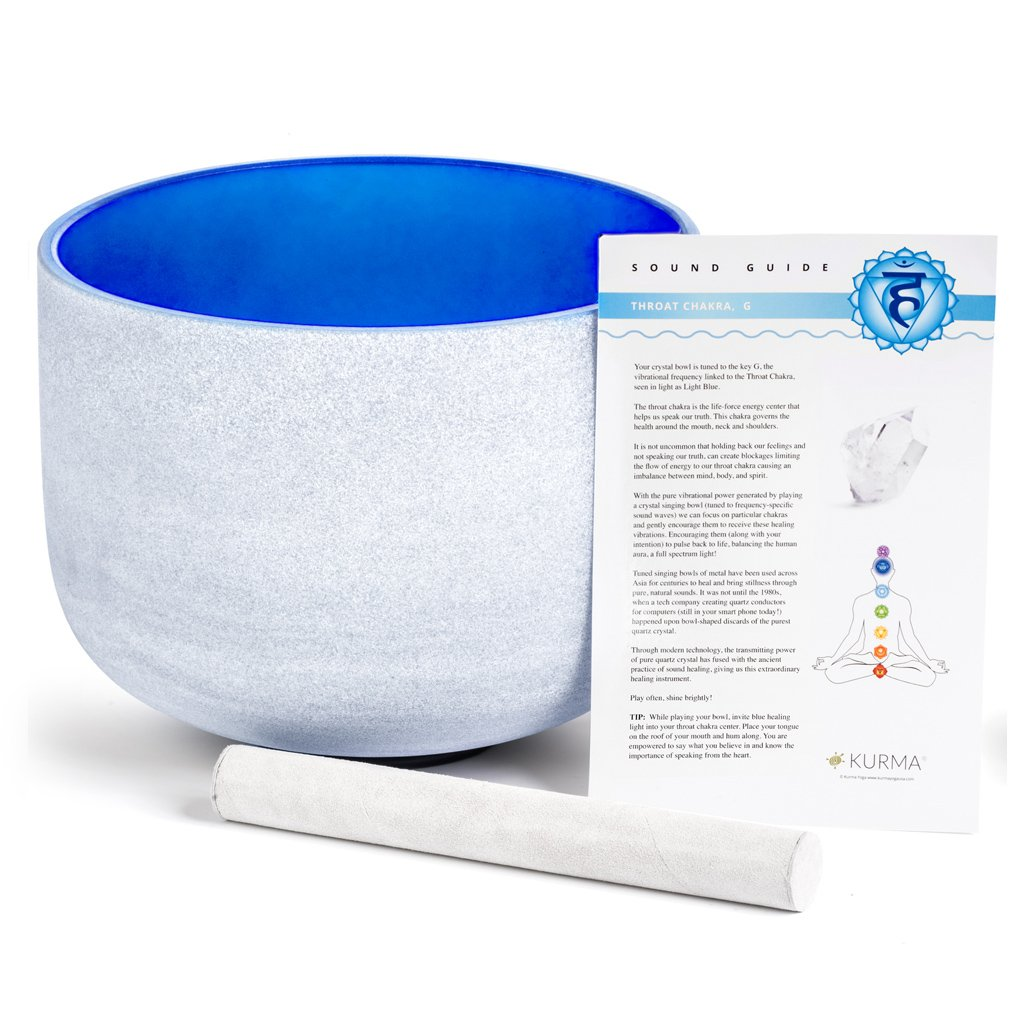 Blue 432 hz Throat Chakra Crystal Singing Bowl G Note 10 Inch, Suede Mallet Included, Precision Tuned
