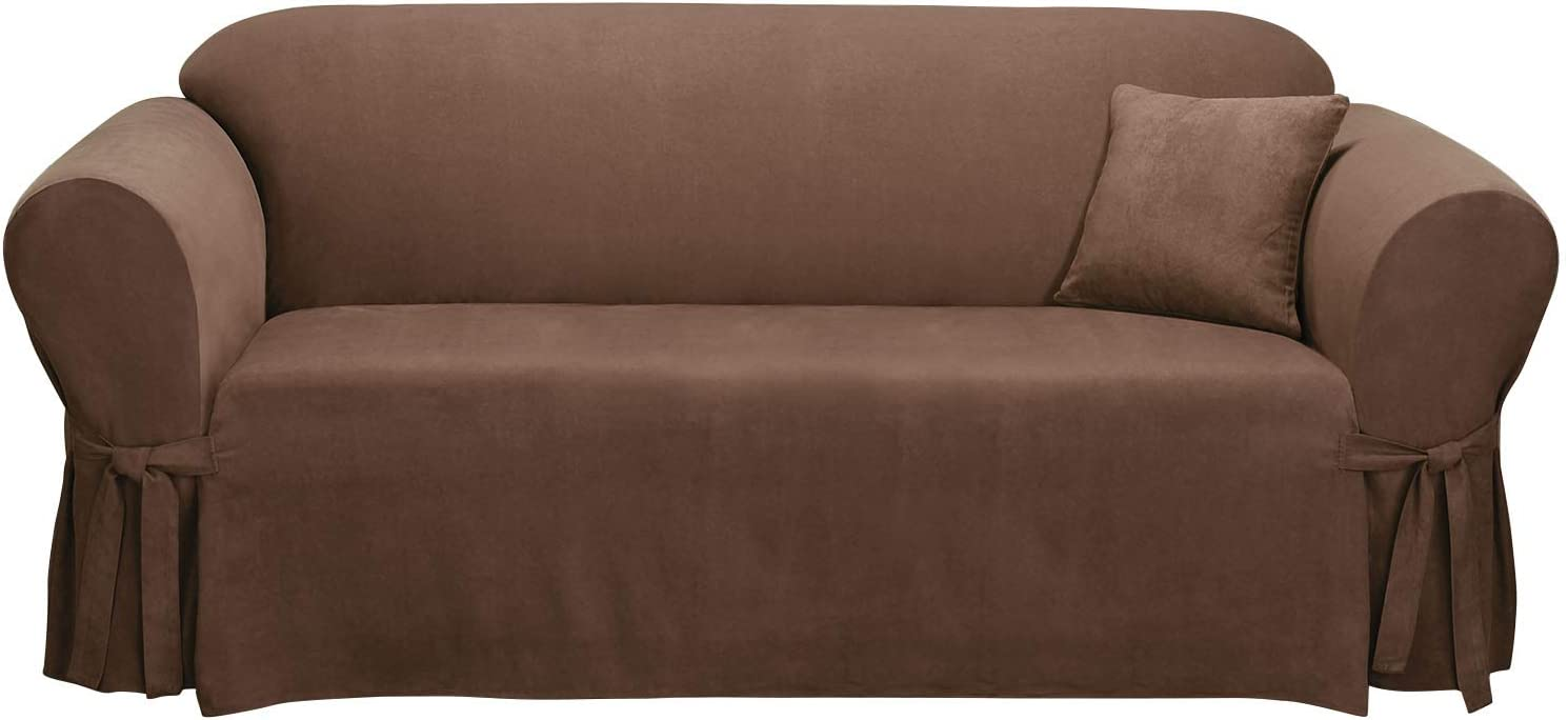 SureFit Home Decor Soft Suede Box Cushion Sofa One Piece Slipcover, Relaxed Fit, Polyester, Machine Washable, Chocolate Color