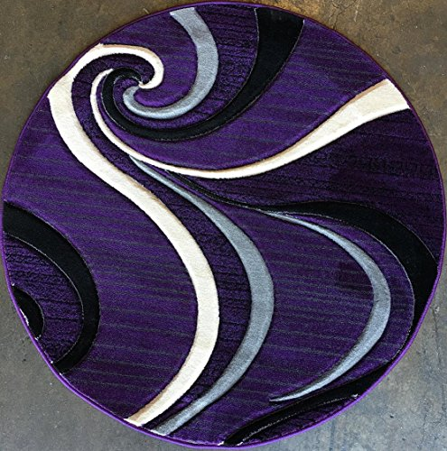 Modern Round 400,000 Point Area Rug Swirl Purple Black & Grey Contempo Design 344 (4 feet X4 feet Round) (Contempo Made Machine Rug)